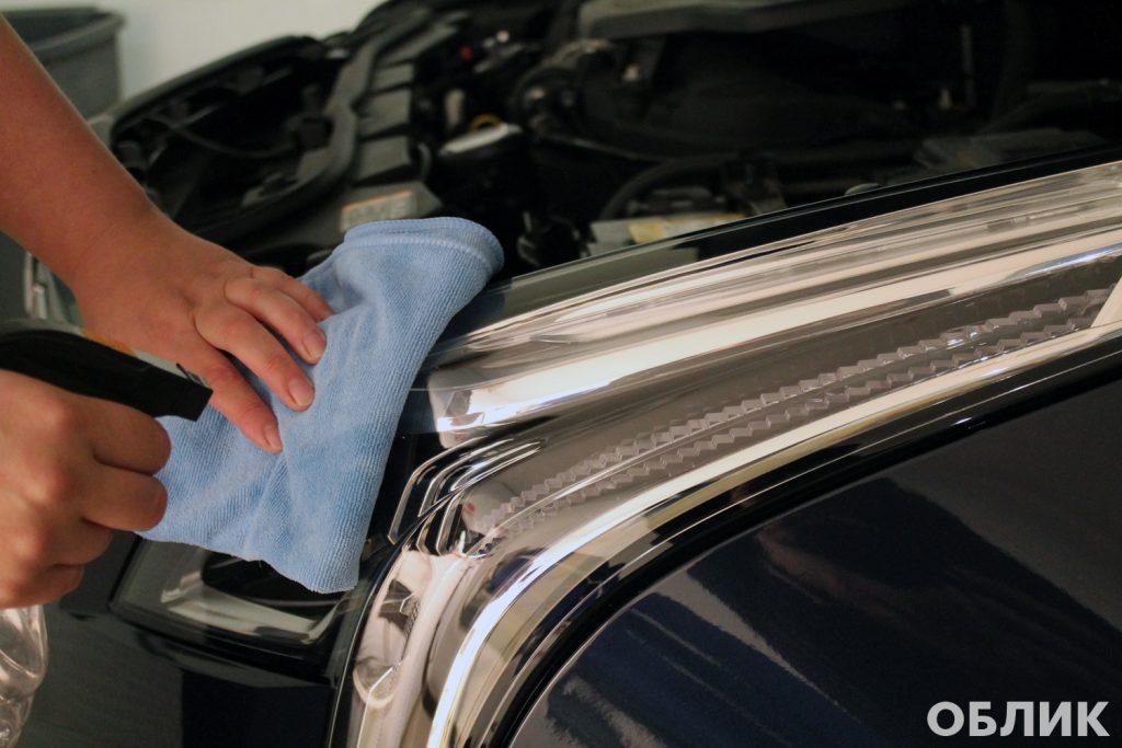 Подготовка к бронированию фар на Cadillac XT5